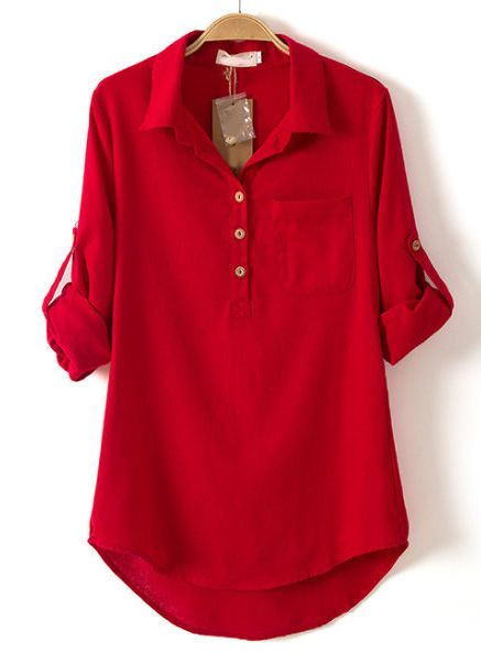 Red Lapel Long Sleeve Pocket Dipped Hem Blouse - Sheinside.com