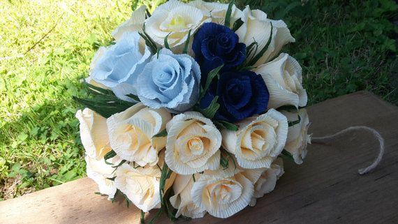 IVORY BLUE paper bouquet Bride WEDDING Bouquet by moniaflowers