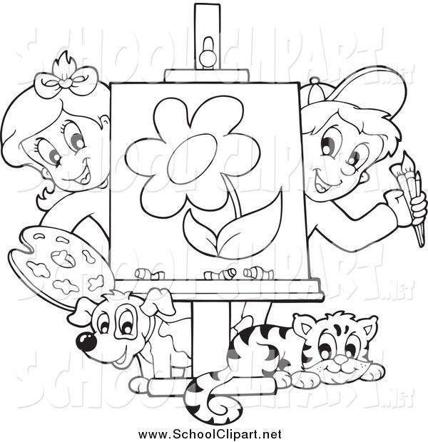 Clip Art of Black and White Art Class Kids Presenting a Painting