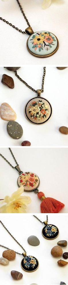 Embroidered pendants