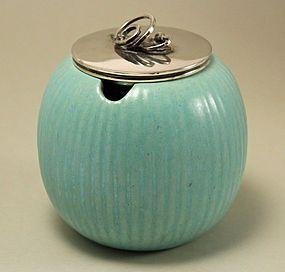 Art Deco Jar with Lid of Silver Plate, Michael Andersen, Denmark