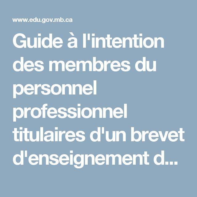 Guide à l'intention des membres du personnel professionnel titulaires d'un brevet d'enseignement du Manitoba - Brevet d'enseignement du Manitoba | Éducation et Formation Manitoba