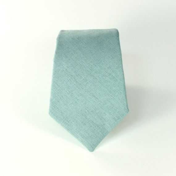 Men's Tie - J Crew Inspired Dusty Shale Groomsman Necktie - Dusty Grey Green Linen Neck Tie - matches BHLDN sea glass dresses