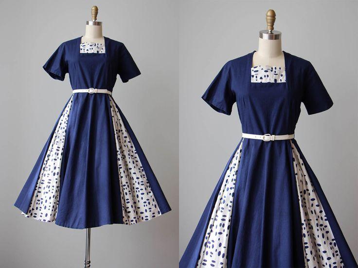 50s Dress - Vintage 1950s Dress - Deep Blue White Polka Dot Cotton Full Circle Skirt Dress L - Penny Ante Dress by jumblelaya on Etsy