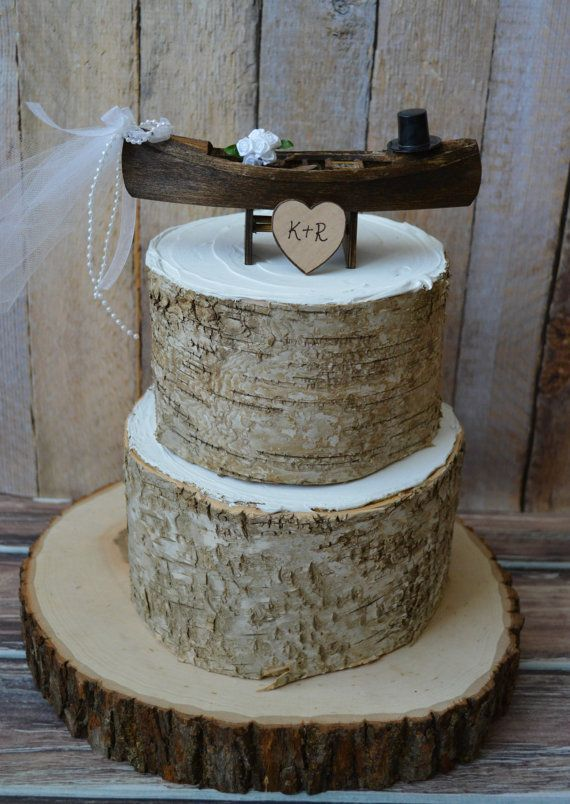 Rustic-canoe-boat-bride-groom-wedding-cake topper-Mr and Mrs-country-western-woodland-custom-row boat-fishing-fisherman-hunting-camouflage
