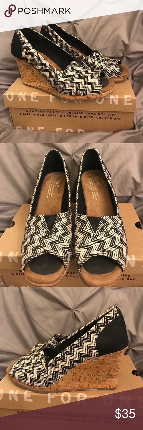 TOMS Chevron Woven Cork Wedges Black & white (although looks off white to me) chevron woven wedges.  Wore one time and decided they weren't for me.  Small front adhesive foot pads inserted as pictured. Toms Shoes Wedges