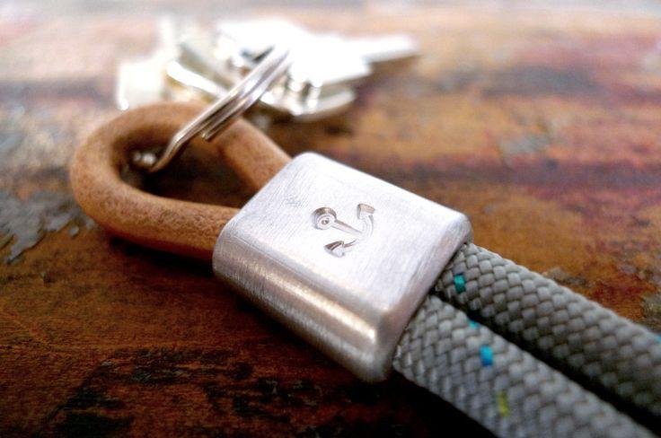 www.877workshop.com — Keychain anchor sailing rope gray