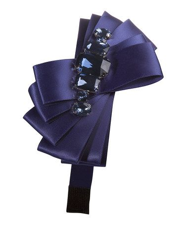 Navy Rhinestone Bow Headband by SBNY Petite #zulily #zulilyfinds- I bet I could make these for the little Beans
