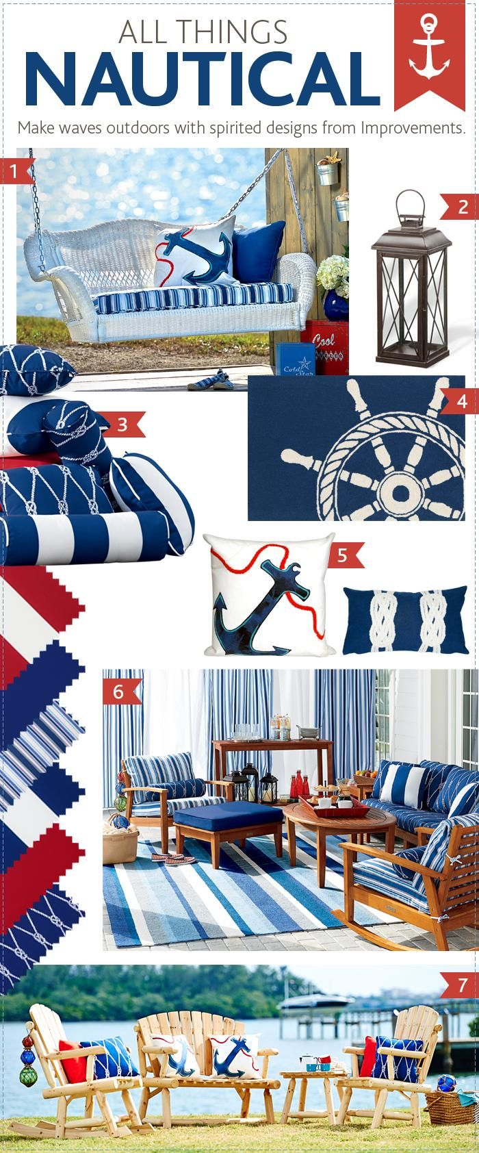 All things nautical. What outdoor decor theme inspires you?All Th Nautical, Nautical Decor, Outdoor Furniture, Outdoor Decor, Things Nautical, Nautical Outdoor, Work Stuff, Furniture Ideas, Decor Theme