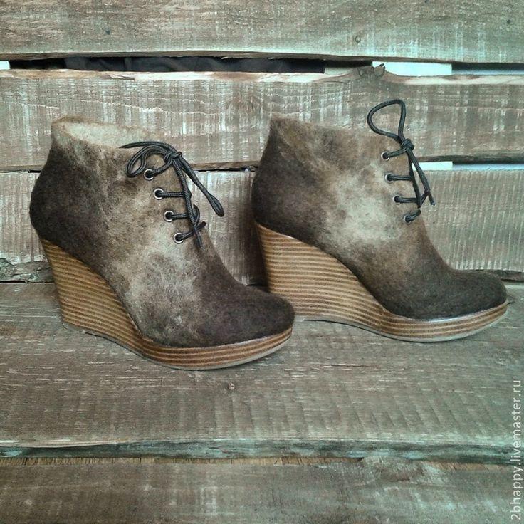 Купить Валяные ботильоны Bellissima 2 - коричневый, валенки, Валяные ботинки, женская обувь