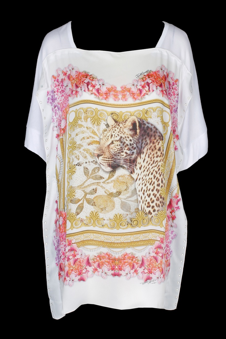 This white t-shirt loses its casual relation and steps it up with a leopard and an elegant floral design! #justcavalli #fashiontee #baroque #scarf #floral #abudhabi #marinamall #ss13 #greenbird #italianfashion #leopard #pink #wildlifetee #fashion