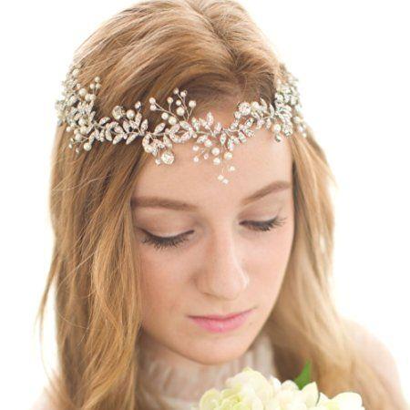 FAYBOX Handmade Crystal Rhinestones Wedding Head Band Bridal Hair Accessorie…