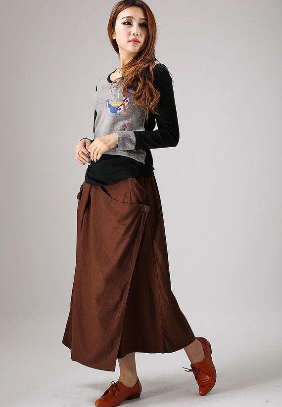 Brown Skirt Linen skirt Maxi skirt custom made skirt by xiaolizi