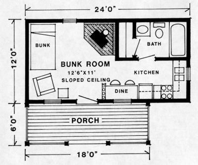 Studio floor plan 12x24 cottage ideas pinterest for 12x24 cabin floor plans