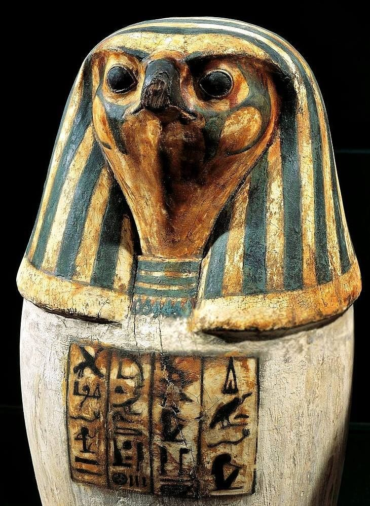 Amnte Nofre Egyptian Religion Pseudo Canopic Jar With The Falcon