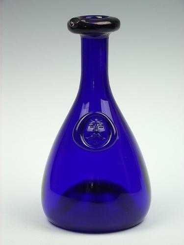 "Holmegaard ""Viking"" cobalt blue coloured glass carafe. Designed by Ole Winther"