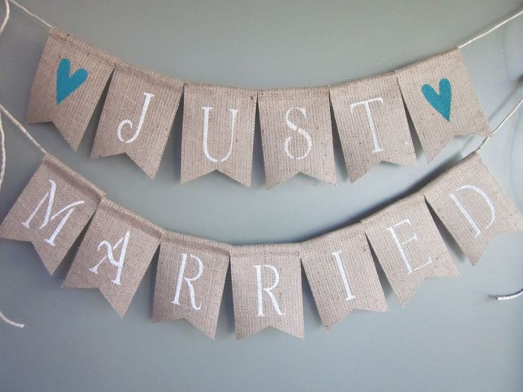 Just Married Banner - Just Married Bunting - Just Married Garland - Wedding Married Sign - Rustic Burlap Wedding Married Decoration by QuaintConfections on Etsy https://www.etsy.com/listing/267605761/just-married-banner-just-married-bunting