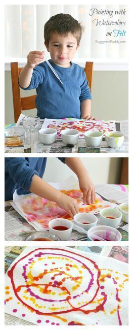 Easy Process Art for Preschoolers: Paint with watercolors and droppers onto felt! Such a fun sensory art experience! ~ http://BuggyandBuddy.com