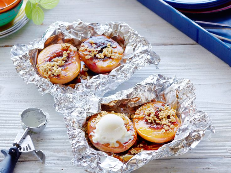 Healthy Grilled Peach Crisp Foil Packs recipe from Food Network Kitchen via Food Network