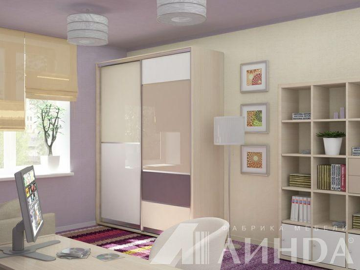 Корпусный шкаф-купе с геометричным дизайном в пастельных тонах в спальню или детскую / Calm tones geometric design wardrobe suitable for a bedroom or a kids room