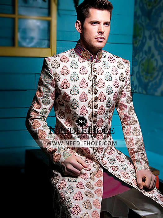 Free shipping #Indian #wedding #sherwani suits & #achkan #dresses for #groom at Needlehole http://lnk.al/2udg