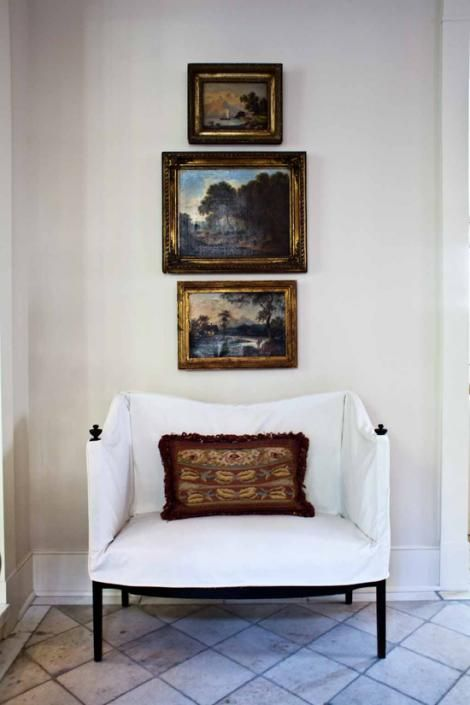 Canvas chair and oil paintings