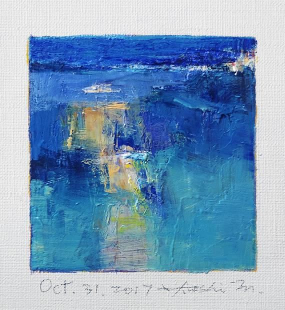 Oct. 31 2017 Original Abstract Oil Painting 9x9 painting