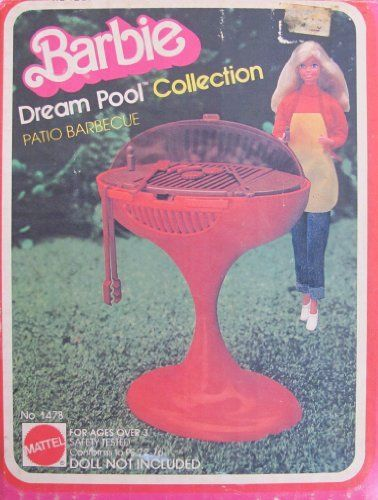 Barbie PATIO BARBECUE Dream Pool Collection (1980 Mattel Hawthorne) by Mattel Hawthorne, made in USA.  --  had it and then lost most of the pieces and turned it into a bathroom sink
