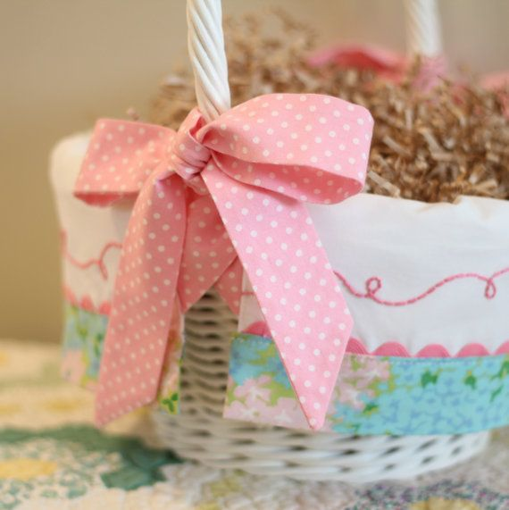 Monogrammed Easter Basket Liner GIRL fits Pottery by tadacreations