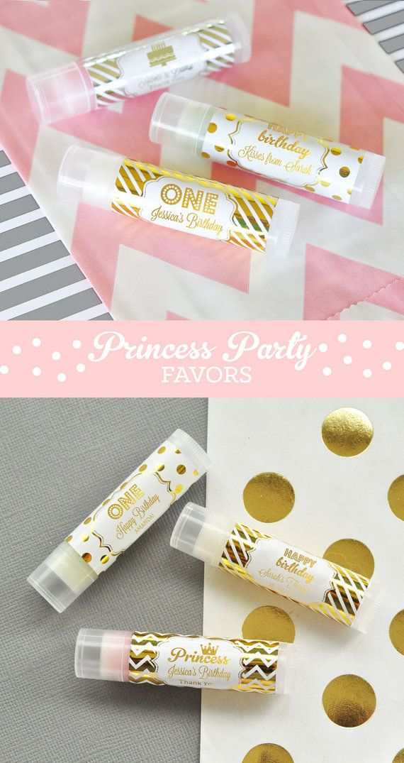 Pink and Gold Princess Party Favors will sparkle up your little Girls Princess Themed Birthday! These elegant sparkly lip balm tube favors are perfect