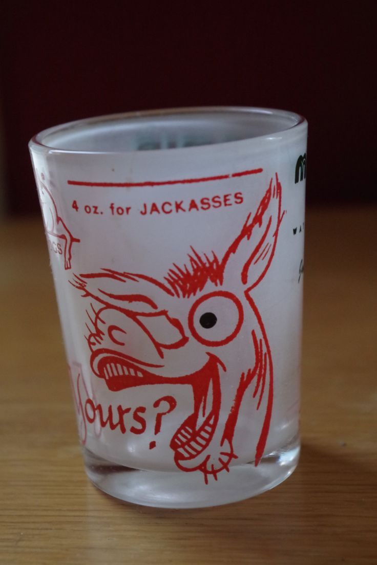 Vintage 1950s Funny Shot Glass What's Yours? Double Layered Glass by retrowarehouse on Etsy
