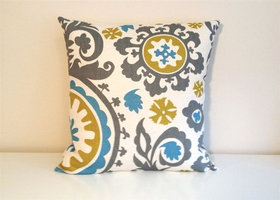 throw pillow cover 16 x 16 inch gray blue yellow suzani accent pillow via etsy pillows. Black Bedroom Furniture Sets. Home Design Ideas
