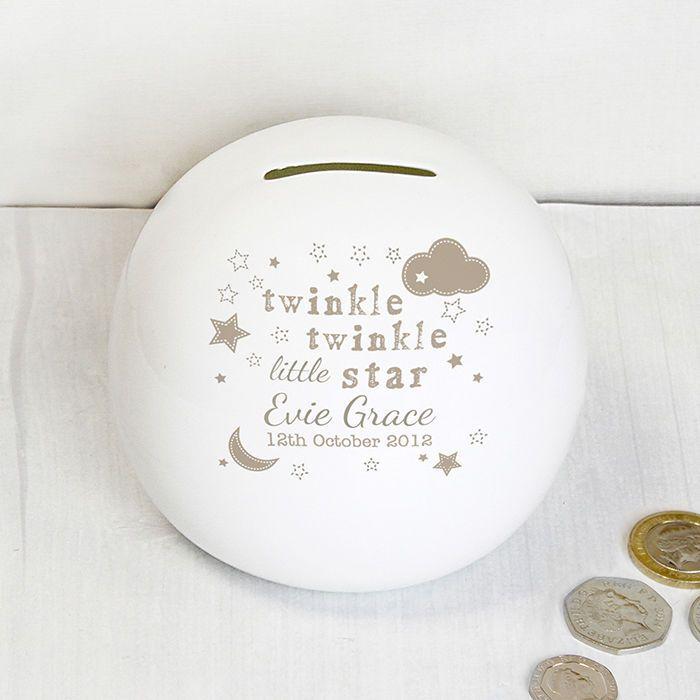 PERSONALISED Money Box Christening Birthday Baptism Newborn Gift Twinkle Twinkle