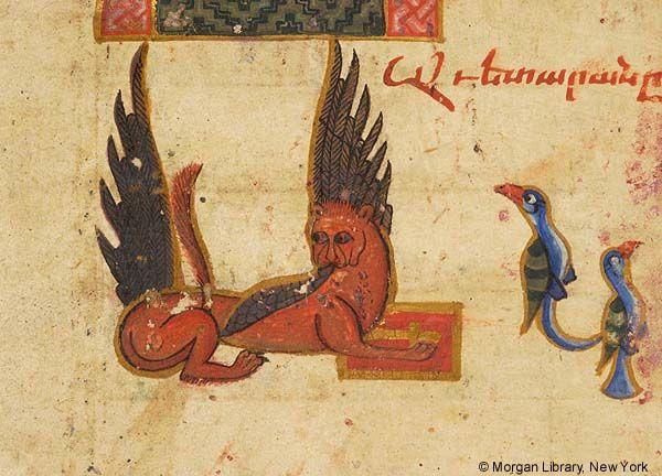 Winged lion as Evangelist symbol of Mark | Gospel book | Armenia, Dǎsirk' | 13th century | The Morgan Library & Museum