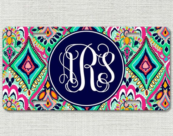 Monogrammed Car Tag Floral Jewels Personalized Front