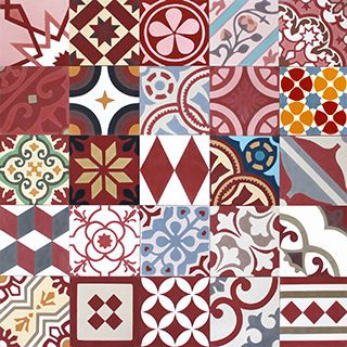 Moroccan cement tile - Sizes and how to order information can be found below  Size: - 20×20cm - 16mm  Product details - Product code: Red - All tiles have the same dominant colour   Made of: - Cement, marble powder sekä inorganic pigments  Manufactured - Morocco  Price and package details: - Minimum order 6 box/ 3.6m2 - Price per box - 15 tiles/ 0.6m2 per box