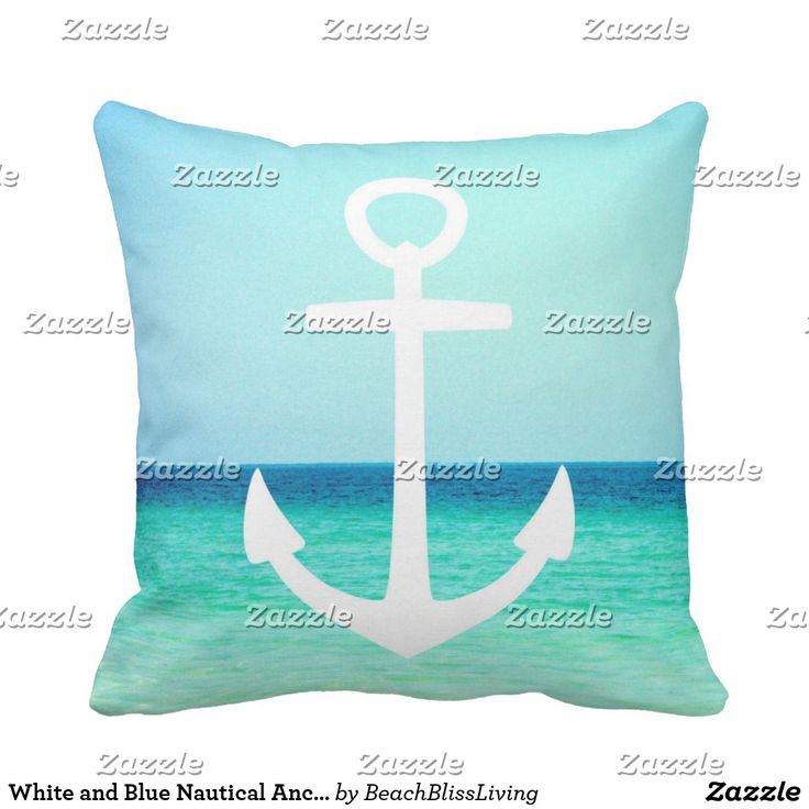 White and Blue Nautical Anchor Pillow  #Pillows #nauticalanchor #blueanchor #nautical #anchor #turquoisenautical #turquoisesea #whiteanchor #nauticalblueandwhite #turquoiseocean