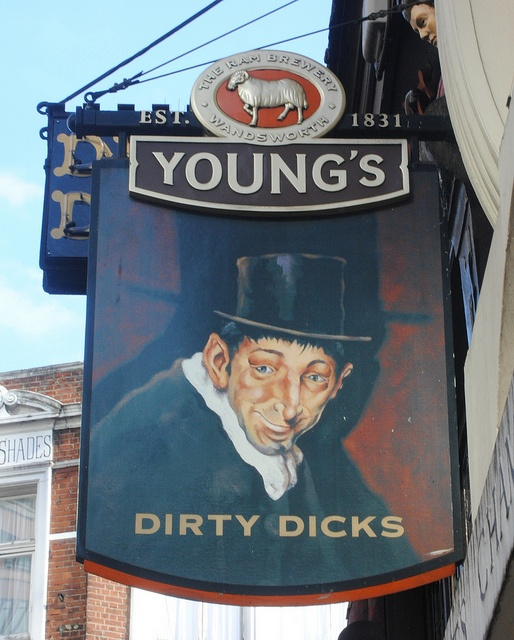 Dirty Dicks pub sign, Bishopsgate London EC2 by pondhopper1