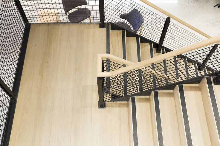 Stairs commercial treads mesh balustrade handrail - Commercial interior design codes ...
