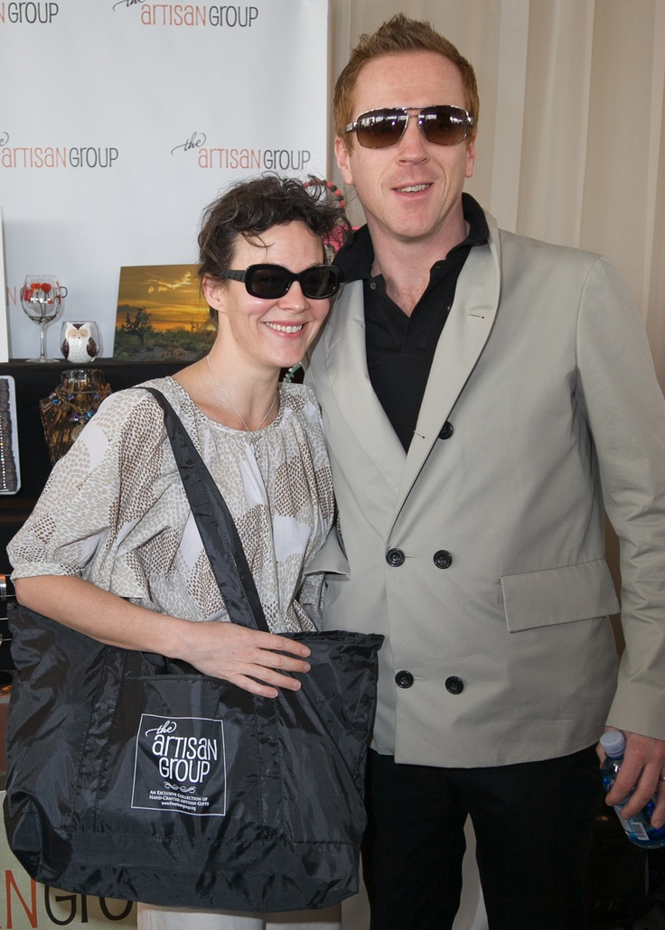 "Helen McRory of the ""Harry Potter"" series and Golden Globe-nominee Damian Lewis with their Artisan Group swag bag."
