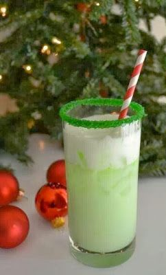 The Grinch- vodka, sherbert, & sprite (club soda instead of sprite for me) Please.