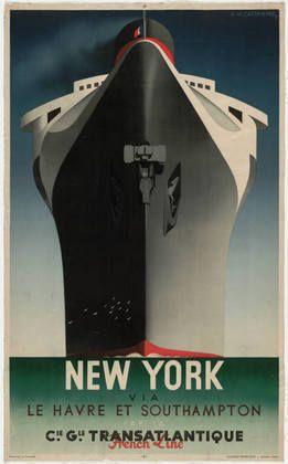A. M. Cassandre. New York via Le Havre et Southampton (New York via Le Havre and Southampton). 1935