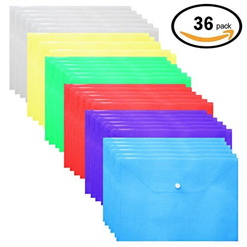 Plastic Envelopes,36 Pack Poly Envelope With Snap Button Closure Plastic Folders Premium Quality Document Folder A4 Size 6 Assorted Colors by CACTUSer  COLOR - Plastic button folder 6 Assorted Bright Colors Red,Yellow,Green,Blue,Purple,Clear.  HIGH QUALITY - Functional professional poly envelope .Acid-free, archival quality envelopes are perfect for long term storage.  ADVANTAGE - Snap folders button closure for conveniently opening and securing contents, Rest assure your documents saf...