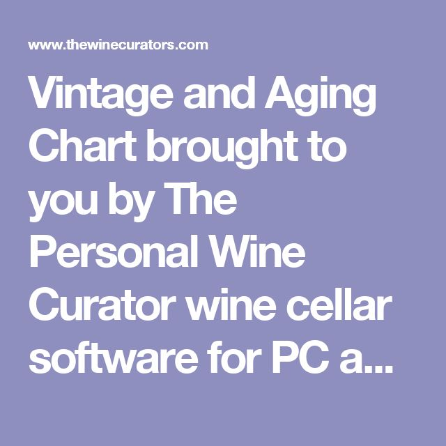 Vintage and Aging Chart brought to you by The Personal Wine Curator wine cellar software for PC and Mac