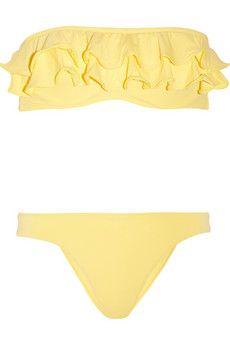 : Bikini 155, Bandeau Bikini, Summer Color, Yellow Ruffle, Bright Yellow, Yellow Bikini