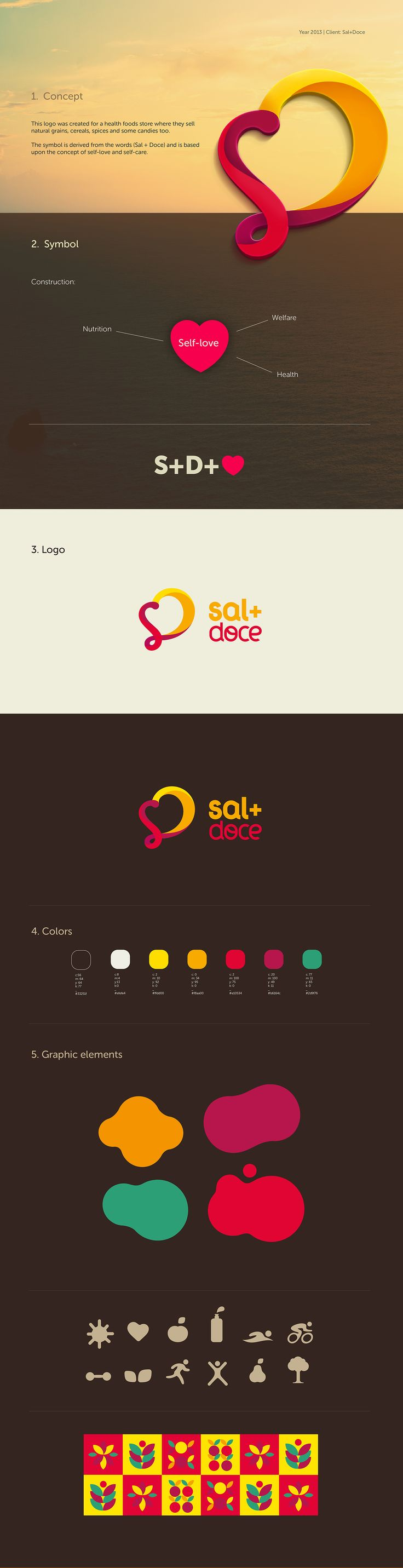 This logo was created for a health foods store where they sell natural grains, cereals, spices and some candies too. The symbol is derived from the words (Sal + Doce) and is based upon the concept of self-love and self-care.