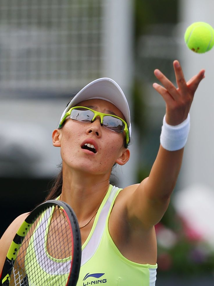 Zheng Saisai of China serves to Madison Brengle of the United States on day one of the 2015 U.S. Open at USTA Billie Jean King National Tennis Center on Aug. 31, 2015.  Jerry Lai-USA TODAY Sports