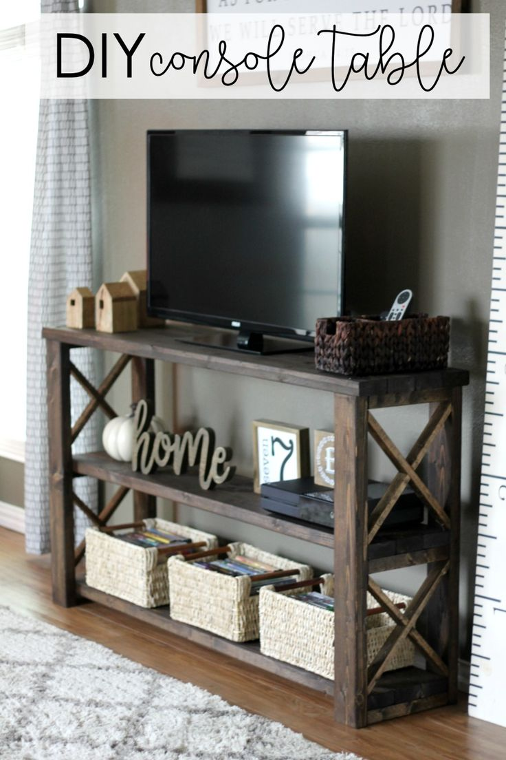 DIY console table tutorial gingersnapcrafts lifestorage