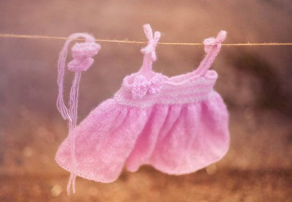Pink knitted baby dress and heandband/ Baby by GabriCollection