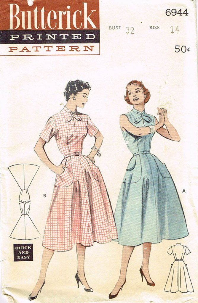 Butterick Pattern 6944Misses' Day Dress PatternCute NecklineOptional SleevesA Quick and Easy DesignDated 1954Factory Folded and UnusedNice Condition OverallSize